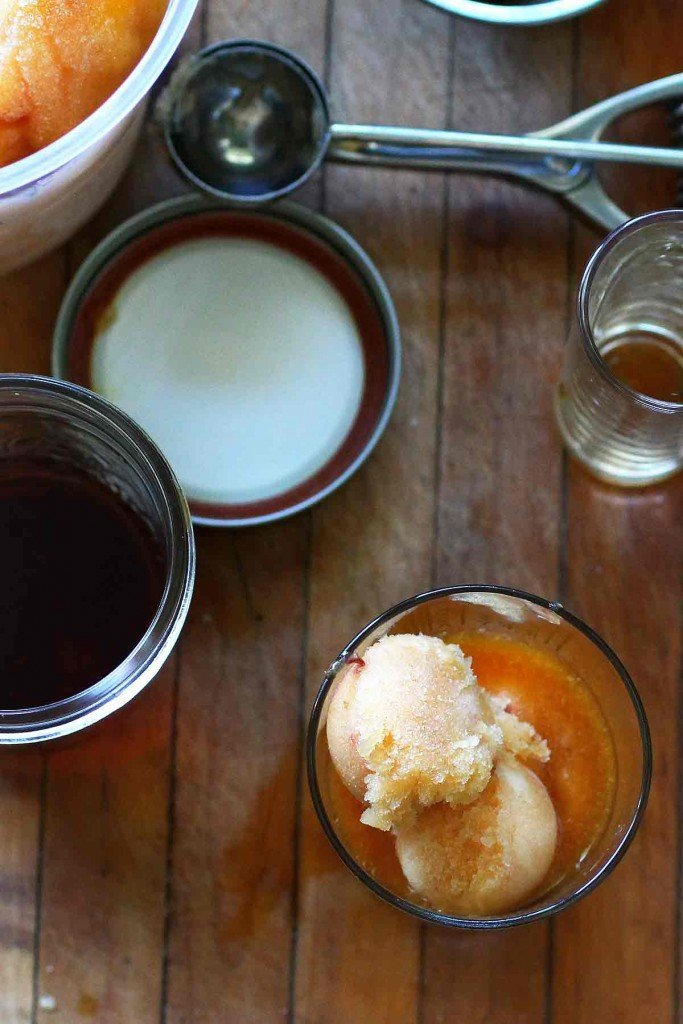 Peach Granita and Vodka Ice Tea Fizz ingredients