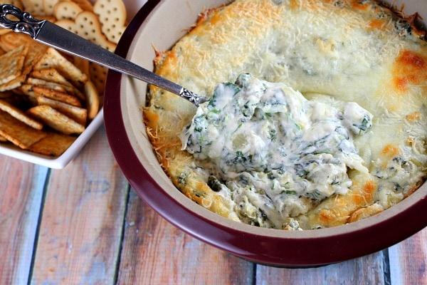 Lighter Spinach Artichoke Dip recipe from RecipeGirl.com
