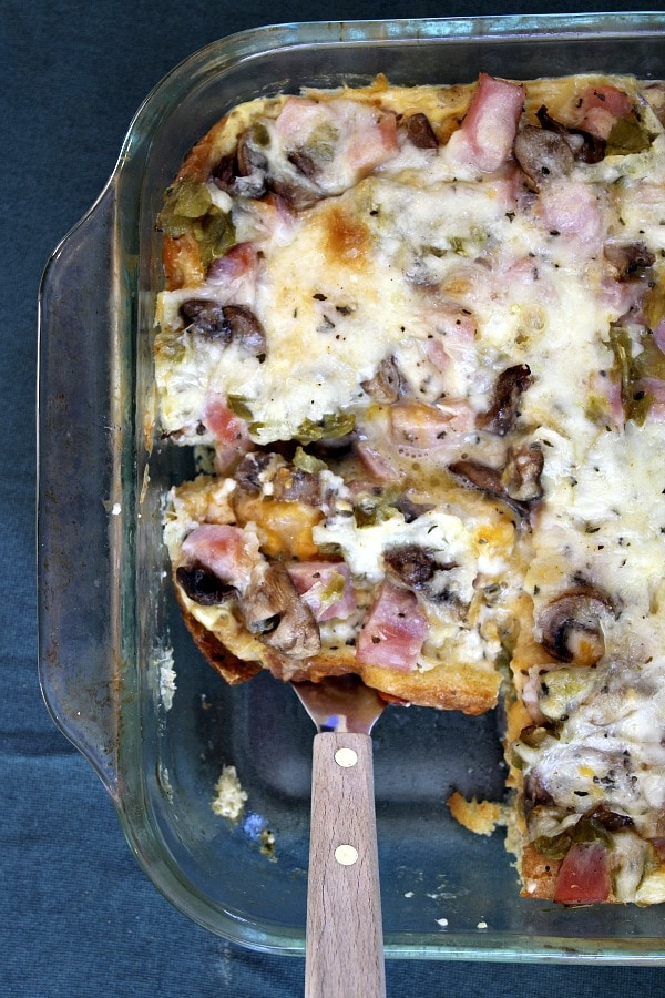 serving Overnight Ham and Cheese Bake