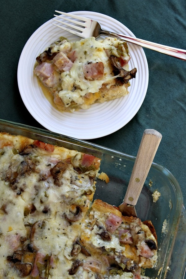 serving of Overnight Ham and Cheese Bake