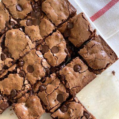 Deep Dark Brownies Cut into Pieces