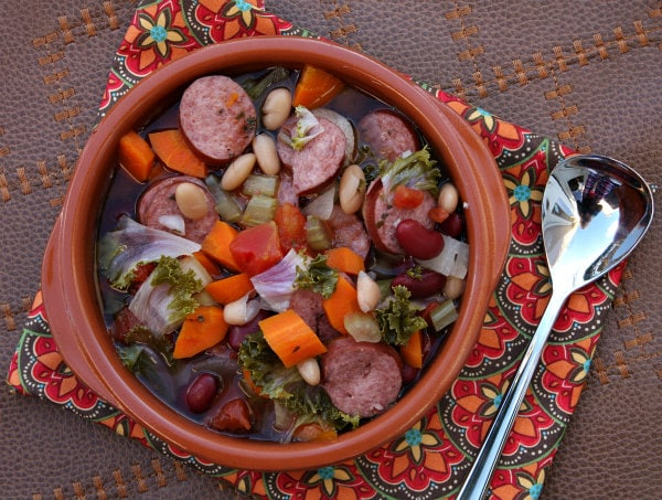 Slow Cooker Tuscan Sausage and Bean Soup - recipe from RecipeGirl.com