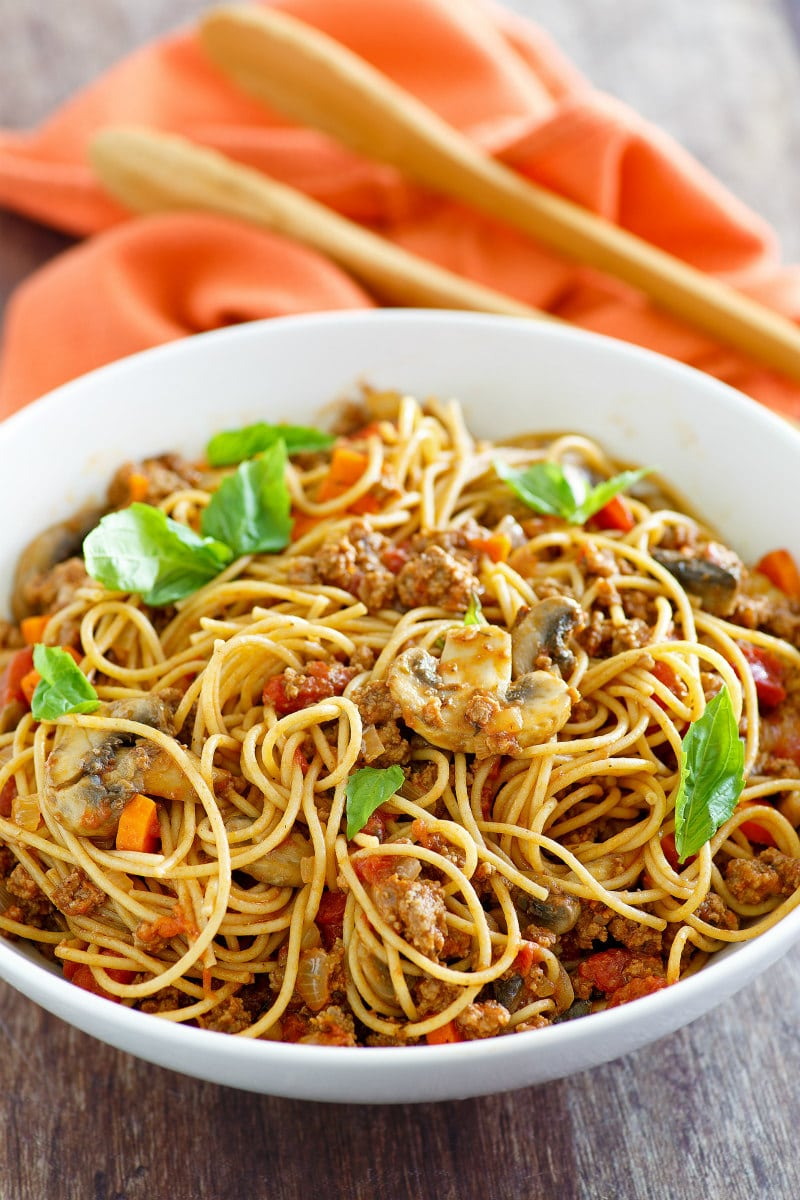 Bowl of Weight Watchers Spaghetti Bolognese