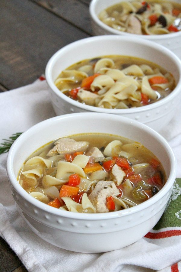 Bowls of Roasted Vegetable Rosemary Chicken Soup