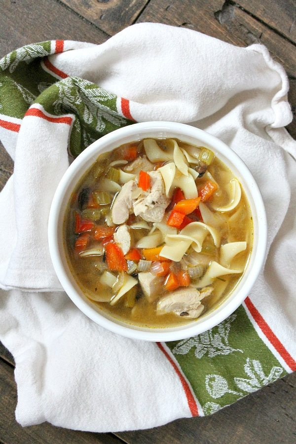 Bowl of Roasted Vegetable Rosemary Chicken Soup