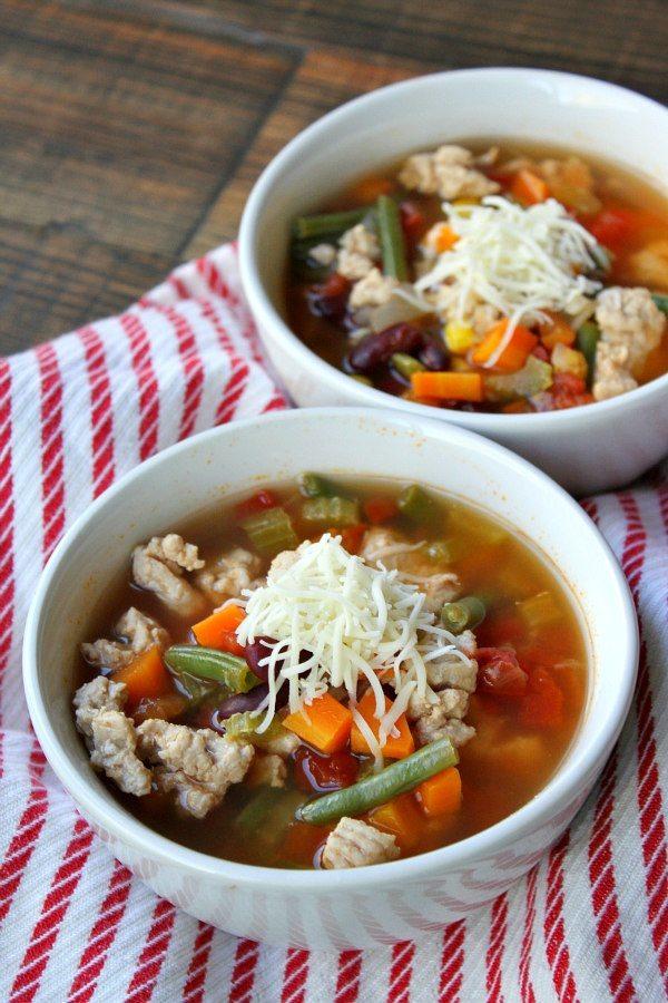 Bowls of Turkey Vegetable Soup