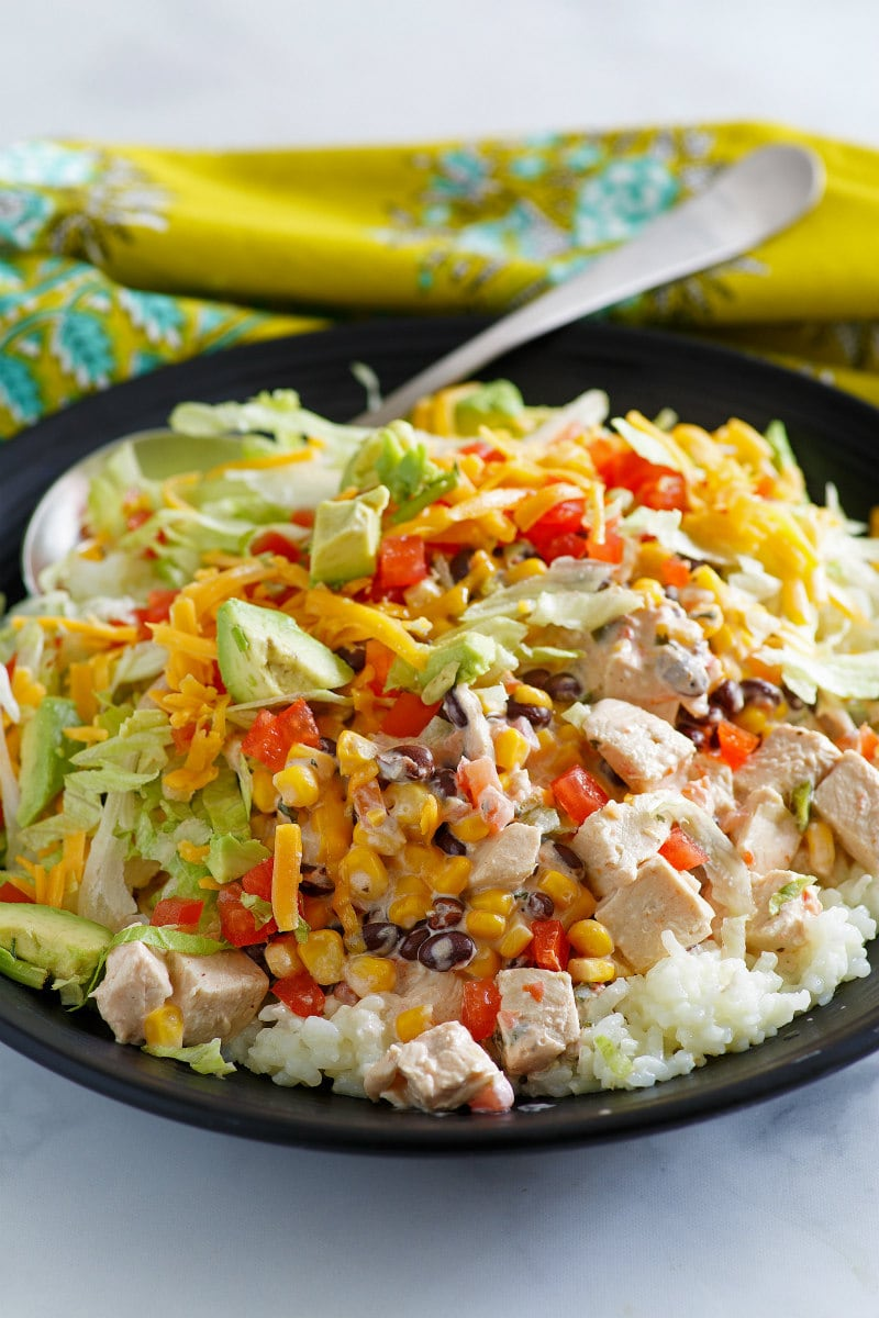Easy Chicken Santa Fe served over rice