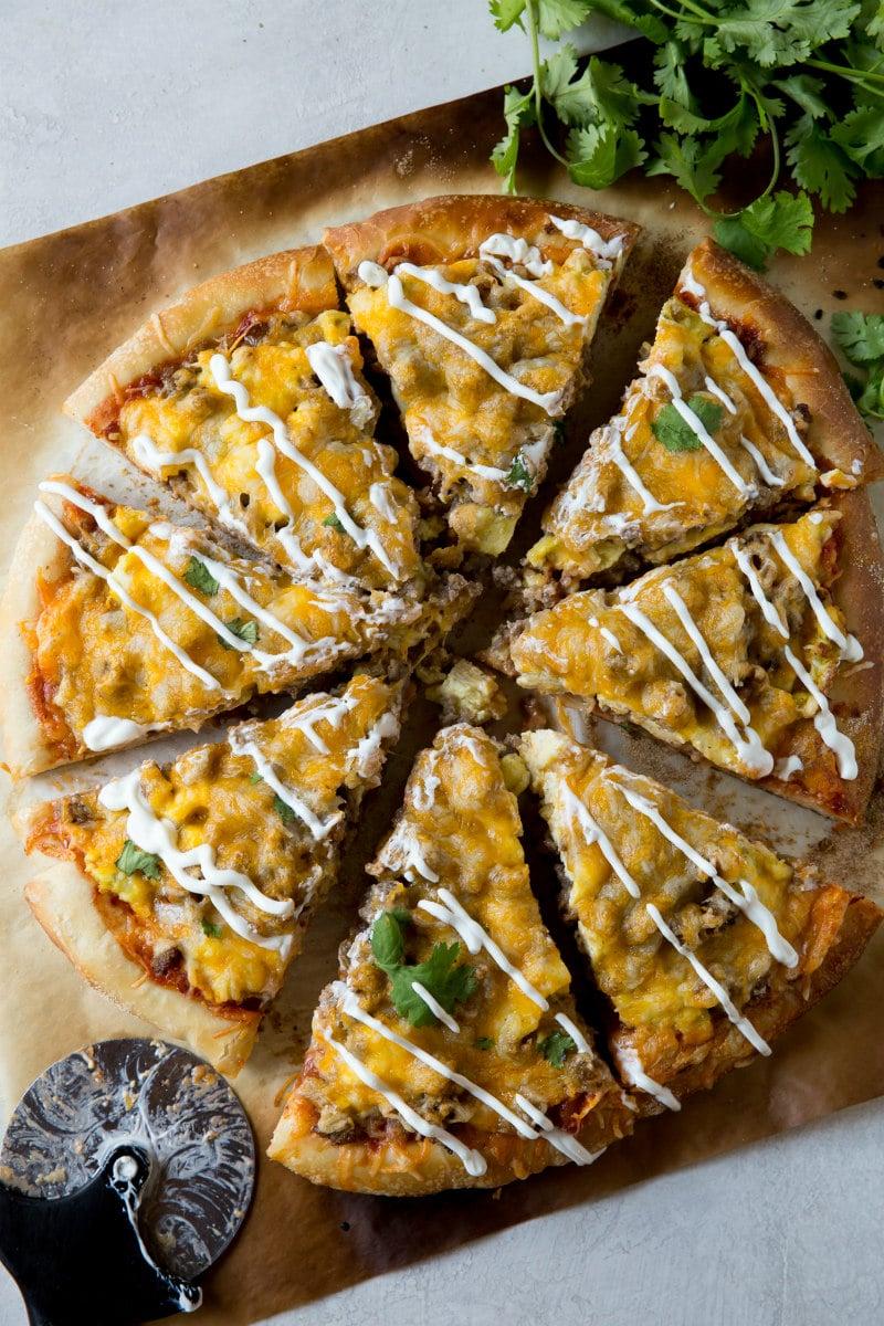 Sliced Sausage and Egg Scrambled Egg Pizza