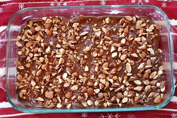 pan of almond roca ready to be broken apart