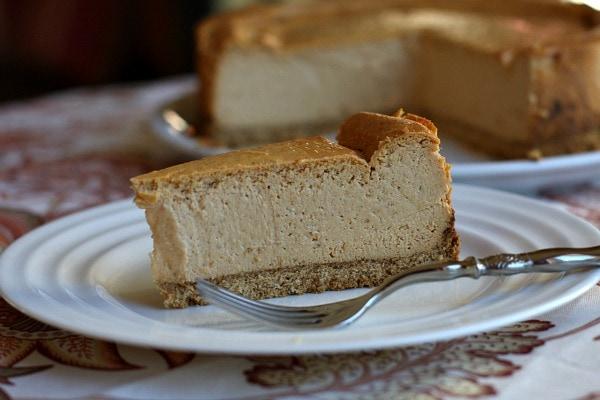 Low Fat Pumpkin Cheesecake recipe from RecipeGirl.com