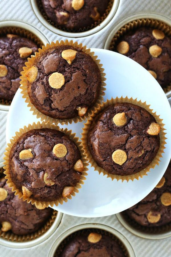 Peanut Butter Chip Brownie Cupcakes on a White Plate