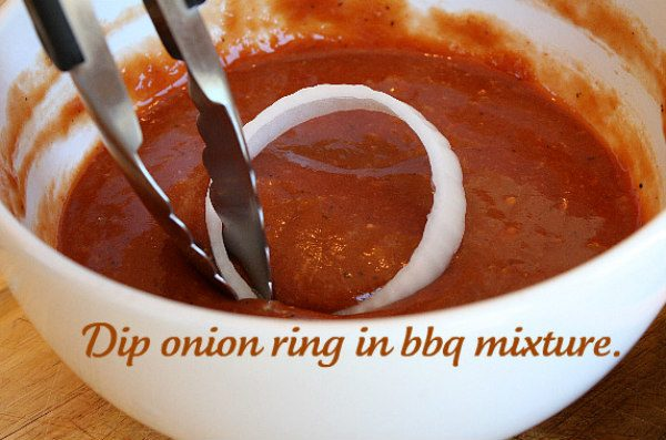 How to Make Baked Barbecue Onion Rings - dip the onion rings in barbecue sauce