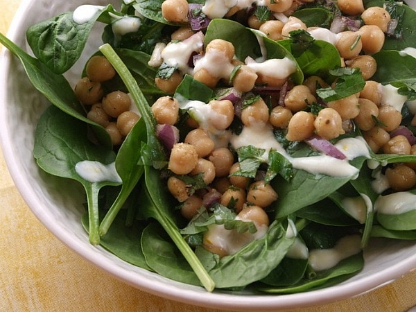 Chickpea and Spinach Salad with Cumin Dressing recipe by RecipeGirl.com