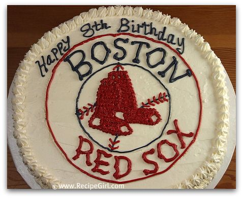 Magnificent Boston Red Sox Birthday Cake Recipe Girl Birthday Cards Printable Nowaargucafe Filternl