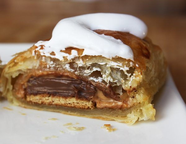 Peanut Butter S'Mores Turnovers cut in half