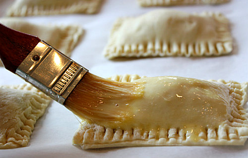 How to Make Peanut Butter S'Mores Turnovers : brushing the pastry with egg wash