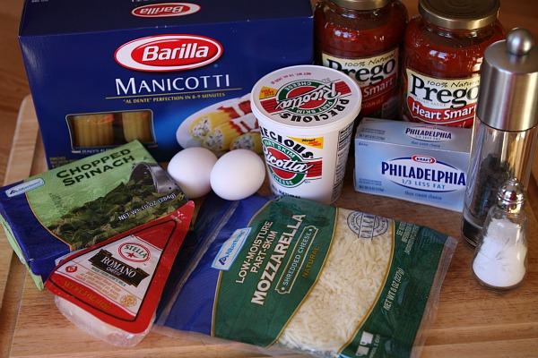 Ingredients for Spinach and Cheese Stuffed Manicotti