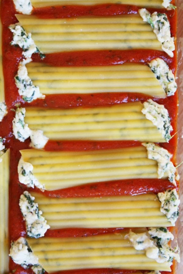 Spinach and Cheese Stuffed Manicotti ready for the oven