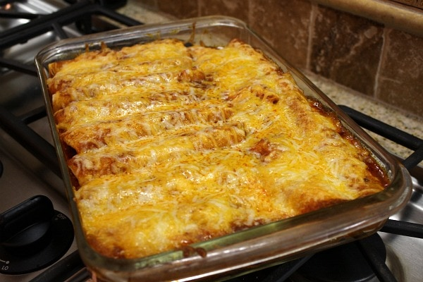 baked beef enchiladas just out of the oven