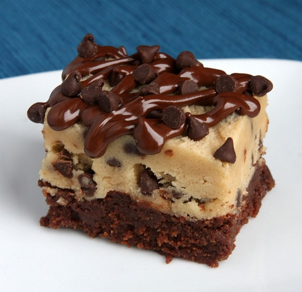 Chocolate Chip Cookie Dough Brownies with chocolate drizzle