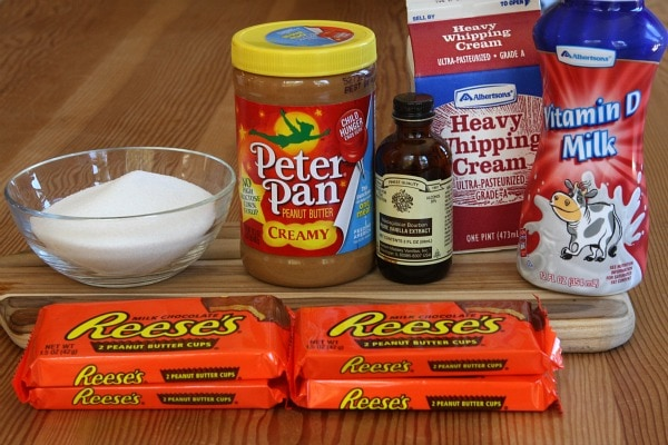 Ingredients needed for Peanut Butter Cup Ice Cream