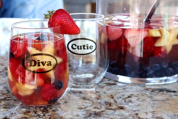 Servings of Red, White and Blue Sangria