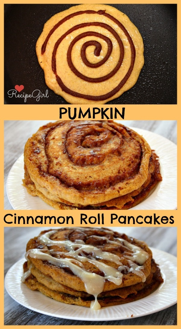 Pumpkin Cinnamon Roll Pancakes - RecipeGirl.com