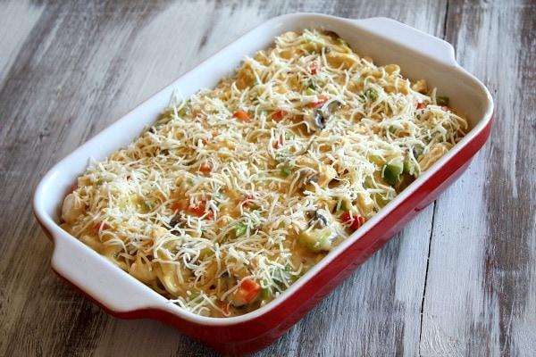 Chicken Spaghetti Casserole ready for the oven