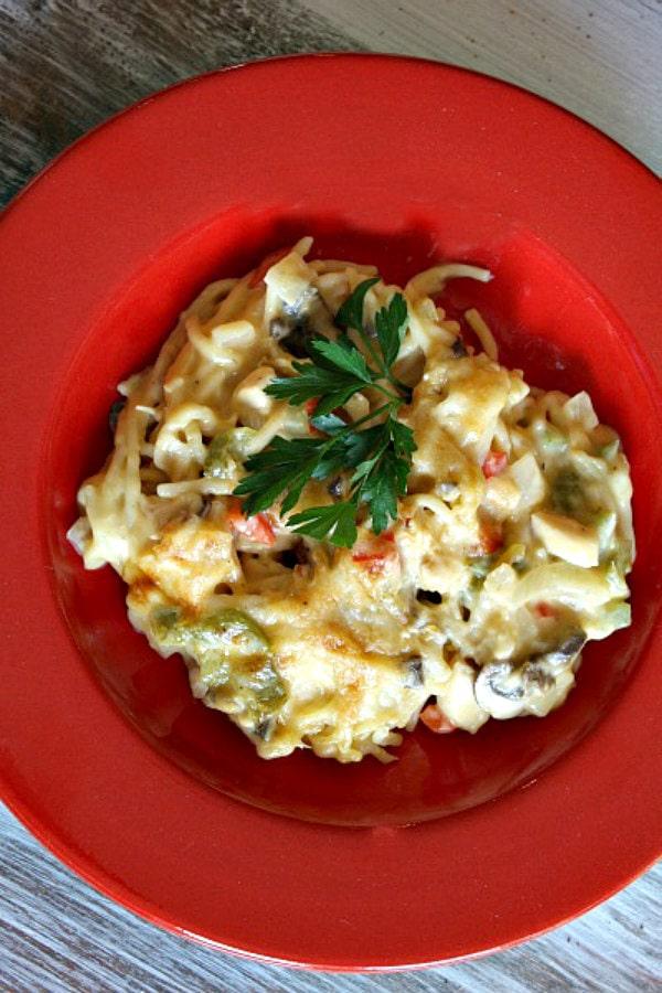Single serving of Chicken Spaghetti Casserole
