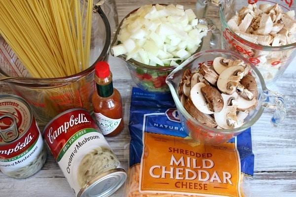 Ingredients for Chicken Spaghetti Casserole