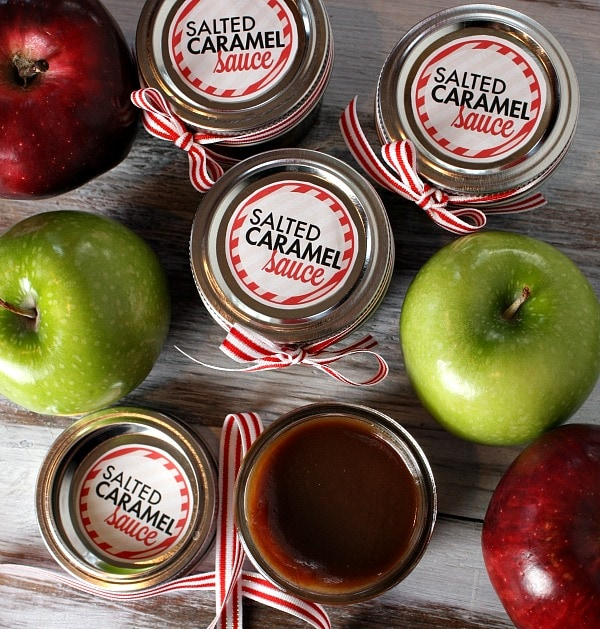salted caramel sauce and apples