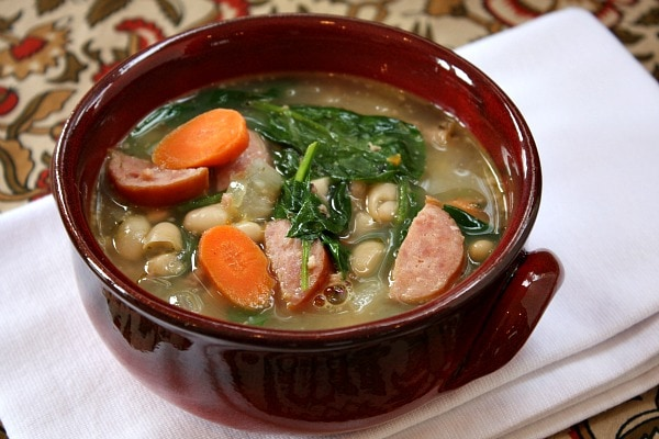 bowl of Bean and Sausage Soup