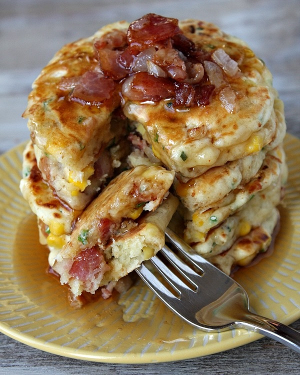 bite of Bacon and Corn Griddle Cakes