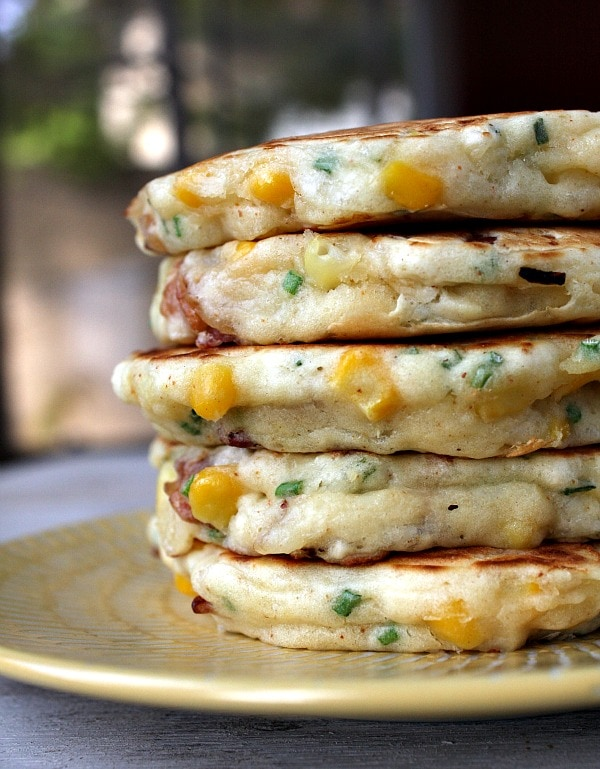 stack of Bacon and Corn Griddle Cakes