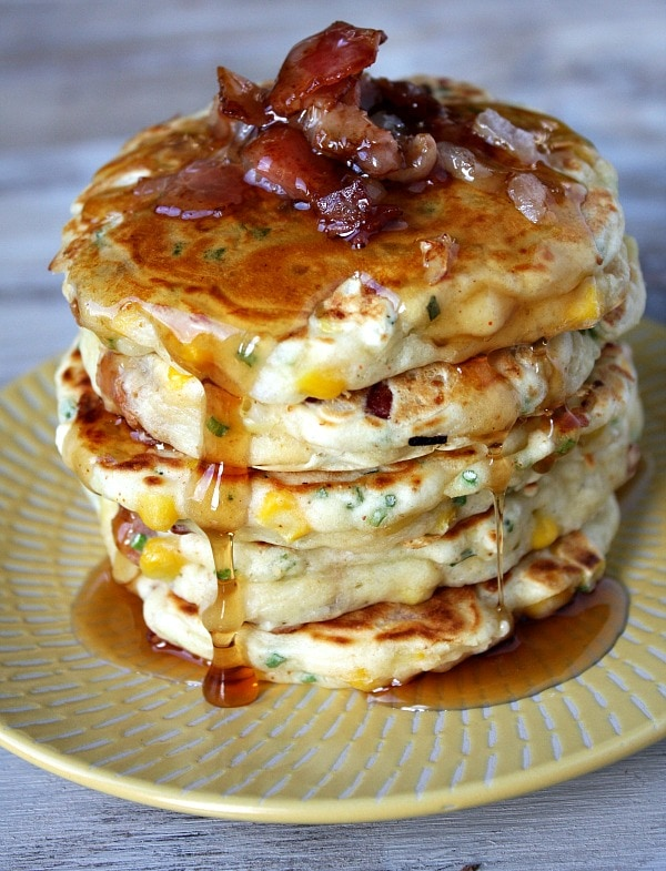 Bacon and Corn Griddle Cakes with maple syrup