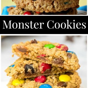 pinterest collage image for monster cookies
