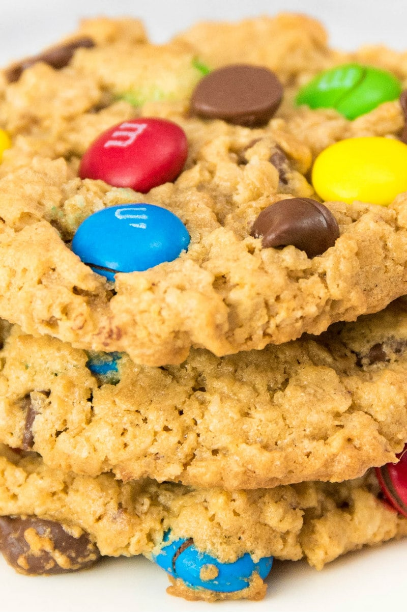 close up shot of a stack of monster cookies