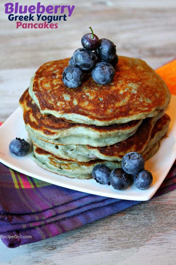 stack of Blueberry Greek Yogurt Pancakes