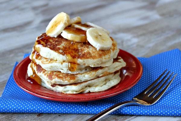 stack of Banana Greek Yogurt Pancakes