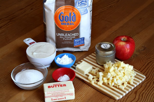 Ingredients needed for Caramel Apple Scones