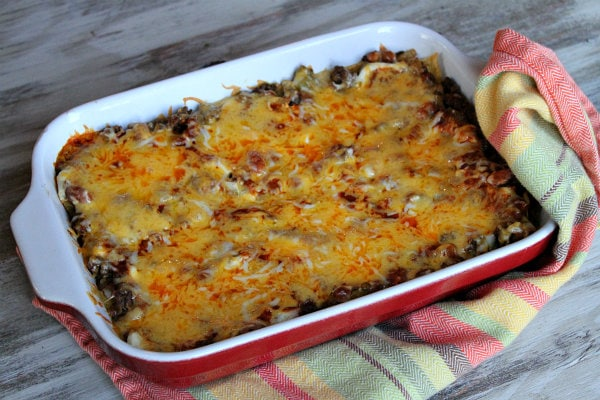 Beef and Bean Enchilada Casserole just out of the oven