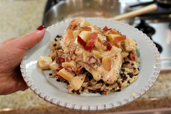 Cheddar Stuffed Chicken Breasts with Apple Bacon Pan Sauce