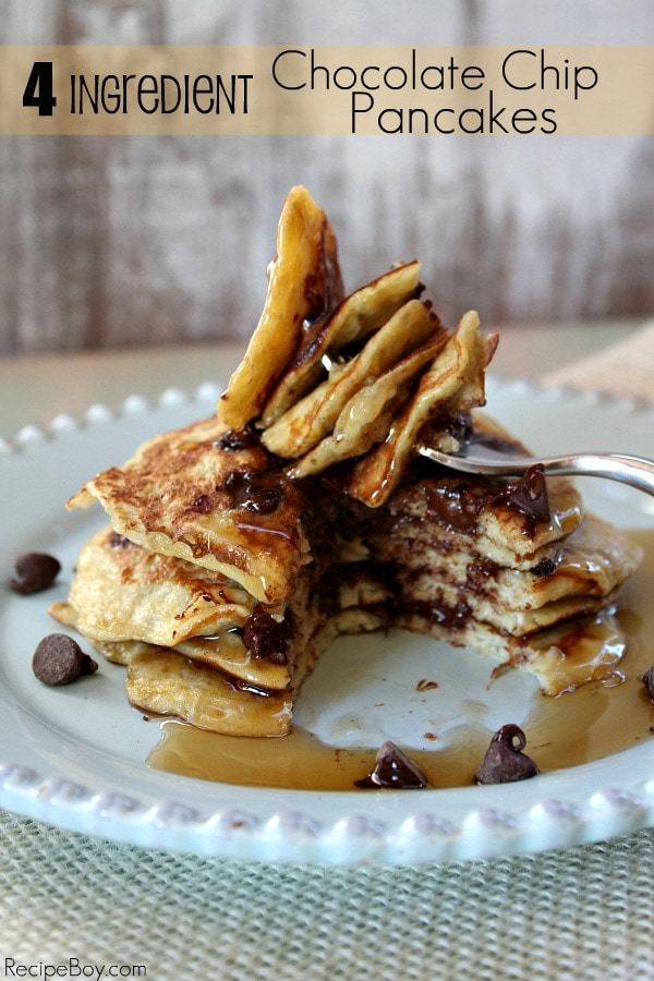 stack of RecipeBoy's 4 Ingredient Chocolate Chip Pancakes