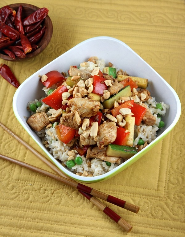 Kung Pao Chicken in a Bowl with Chopsticks