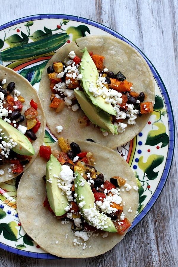 Roasted Vegetable and Black Bean Tacos recipe - from RecipeGirl.com