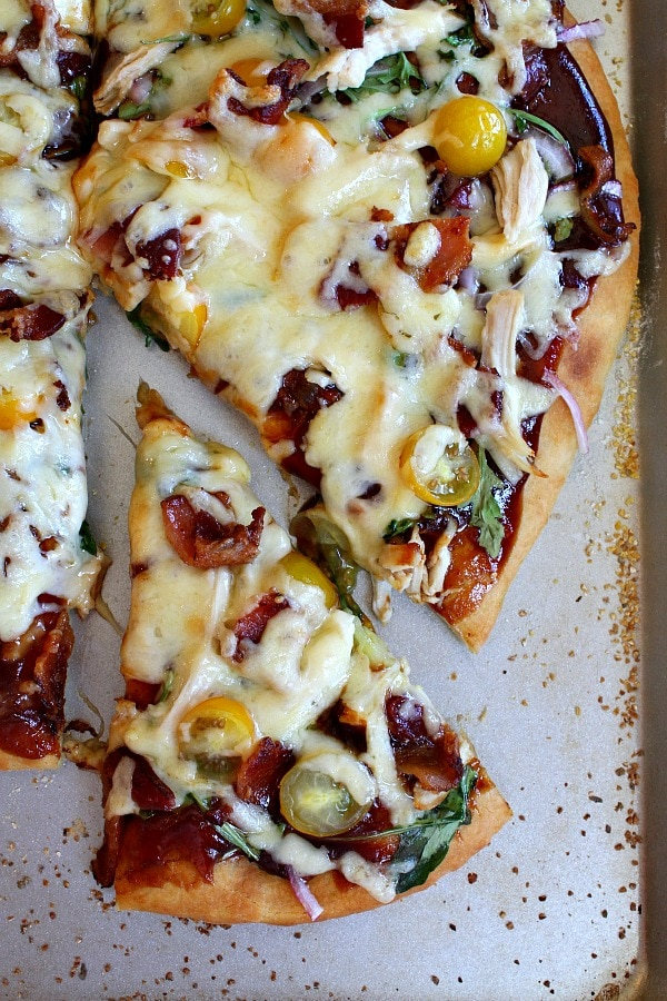 BBQ Chicken and Bacon Pizza from RecipeGirl.com