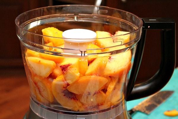 Peaches in the food processor