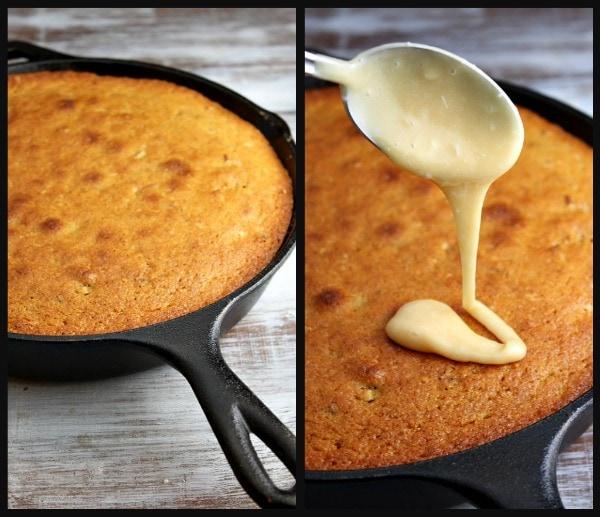 Pumpkin Pecan Skillet Cake with Salted Butterscotch Glaze 2