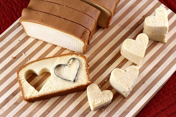 Cutting hearts from pound cake