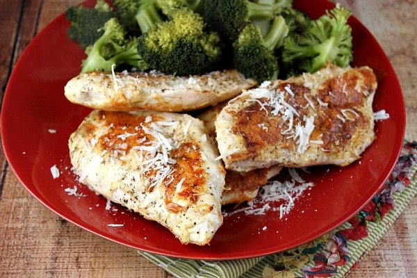 parmesan crusted chicken on a red plate